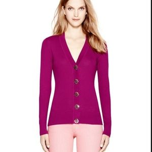Tory Burch Simone Ribbed Cardigan S Pink Berry